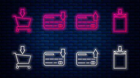 Set line Credit card, Credit card, Add to Shopping cart and Paper shopping bag. Glowing neon icon on brick wall. Vector Vektoros illusztráció