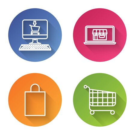 Set line Shopping cart on screen computer, Shopping building on screen laptop, Paper shopping bag and Shopping cart. Color circle button. Vector