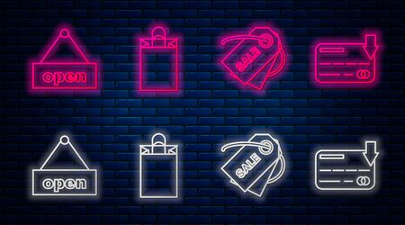 Set line Paper shopping bag, Price tag with an inscription Sale, Hanging sign with text Open door and Credit card. Glowing neon icon on brick wall. Vector