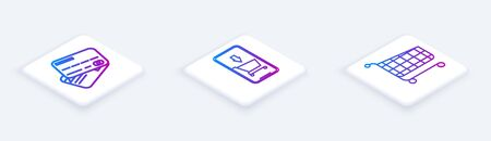 Set Isometric line Credit card, Mobile phone and shopping cart and Shopping cart. White square button. Vector