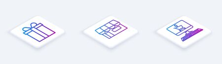 Set Isometric line Gift box, Shopping building or market store and Shopping cart on screen computer. White square button. Vector