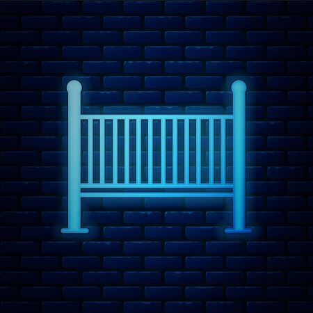 Glowing neon Baby crib cradle bed icon isolated on brick wall background. Vector Illustration