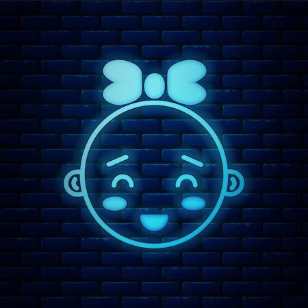 Glowing neon Happy little girl head icon isolated on brick wall background. Face of baby girl.  Vector Illustration