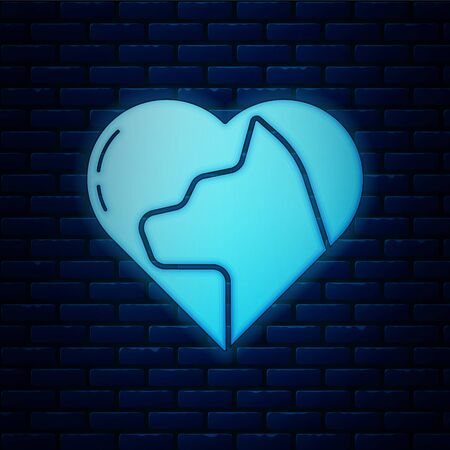 Glowing neon Heart with cat icon isolated on brick wall background. Love to the animals.  Vector Illustration