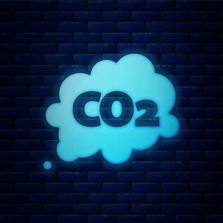 Glowing neon CO2 emissions in cloud icon isolated on brick wall background. Carbon dioxide formula symbol, smog pollution concept, environment concept.  Vector Illustration