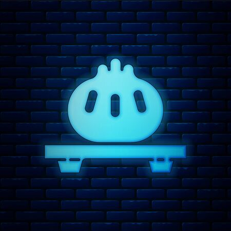 Glowing neon Dumpling on cutting board icon isolated on brick wall background. Traditional chinese dish. Vector Illustration