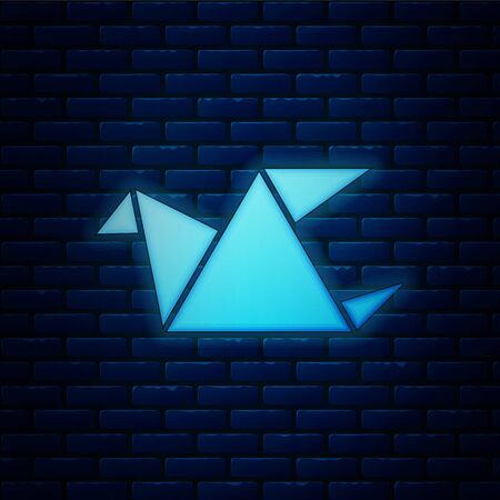 Glowing neon Origami bird icon isolated on brick wall background. Vector Illustration