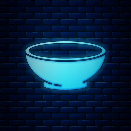 Glowing neon Bowl of hot soup icon isolated on brick wall background. Vector Illustration