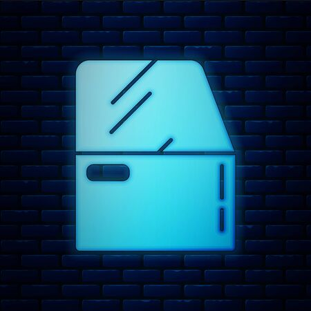 Glowing neon Car door icon isolated on brick wall background. Vector Illustration Archivio Fotografico - 135809702