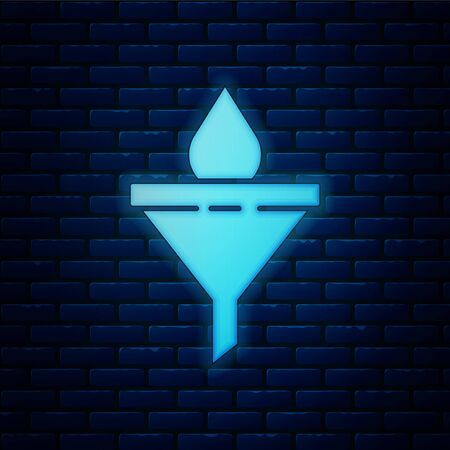 Glowing neon Funnel or filter and motor oil drop icon isolated on brick wall background. Vector Illustration
