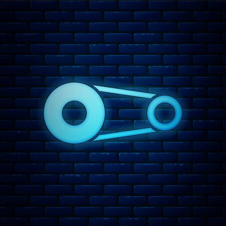 Glowing neon Timing belt kit icon isolated on brick wall background. Vector Illustration