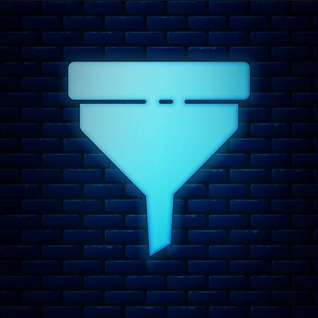 Glowing neon Funnel or filter icon isolated on brick wall background. Vector Illustration  イラスト・ベクター素材