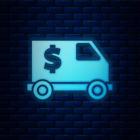 Glowing neon Armored truck icon isolated on brick wall background. Vector Illustration 向量圖像