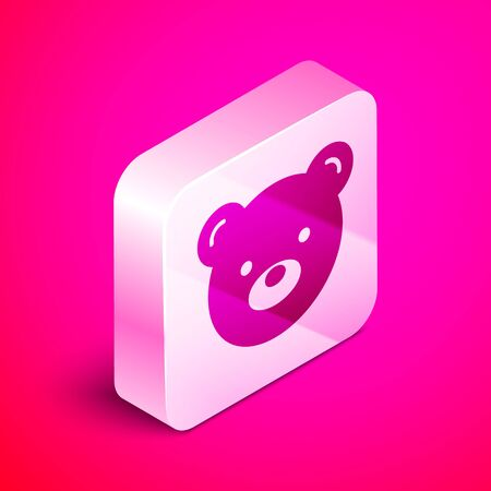 Isometric Teddy bear plush toy icon isolated on pink background. Silver square button. Vector Illustration Иллюстрация