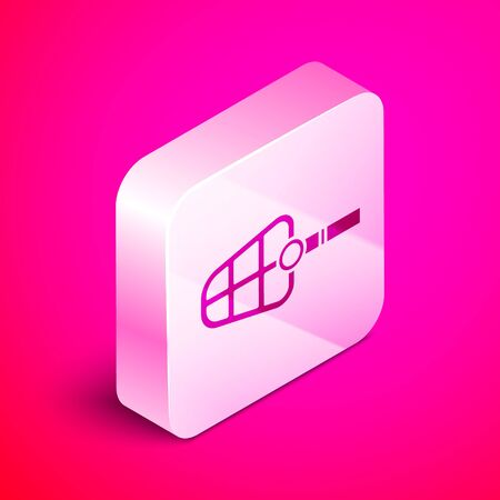 Isometric Dog muzzle icon isolated on pink background. Silver square button. Vector Illustration Imagens - 135816701