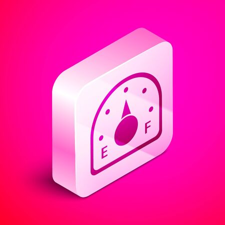 Isometric Motor gas gauge icon isolated on pink background. Empty fuel meter. Full tank indication. Silver square button. Vector Illustration