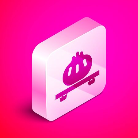 Isometric Dumpling on cutting board icon isolated on pink background. Traditional chinese dish. Silver square button. Vector Illustration