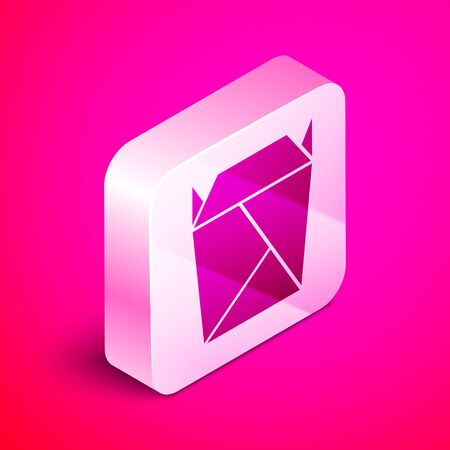 Isometric Chinese restaurant opened take out box filled icon isolated on pink background. Take away food. Silver square button. Vector Illustration Ilustrace