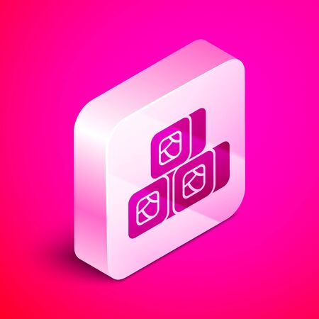 Isometric Sushi icon isolated on pink background. Traditional Japanese food. Silver square button. Vector Illustration Illustration