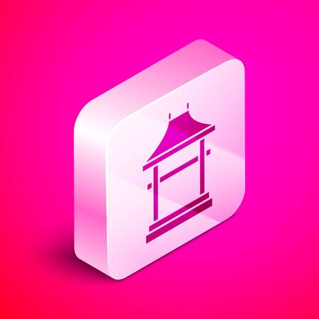 Isometric Japan Gate icon isolated on pink background. Torii gate sign. Japanese traditional classic gate symbol. Silver square button. Vector Illustration 向量圖像