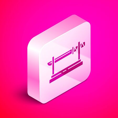Isometric Traditional Japanese katana on a wooden stand icon isolated on pink background. Japanese sword. Silver square button. Vector Illustration