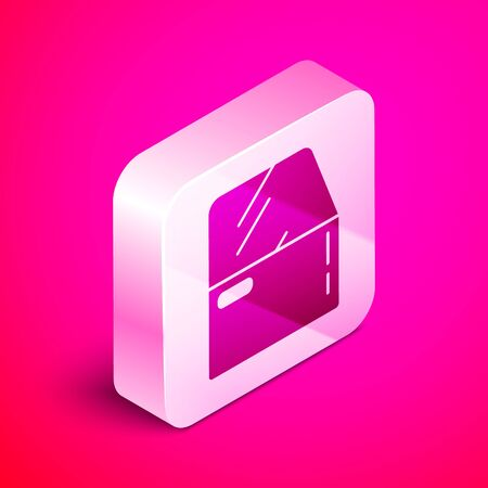 Isometric Car door icon isolated on pink background. Silver square button. Vector Illustration