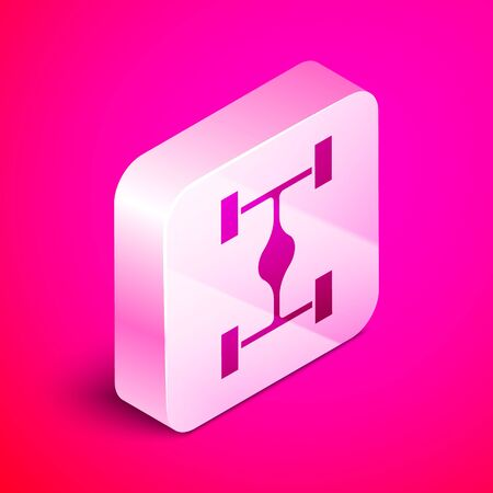 Isometric Chassis car icon isolated on pink background. Silver square button. Vector Illustration