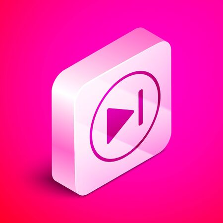 Isometric Fast forward icon isolated on pink background. Silver square button. Vector Illustration