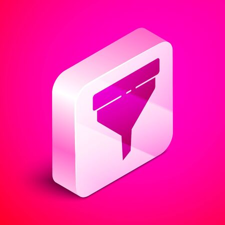 Isometric Funnel or filter icon isolated on pink background. Silver square button. Vector Illustration