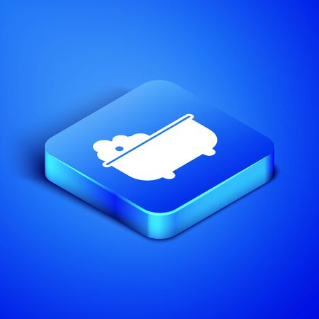 Isometric Baby bathtub with foam bubbles inside icon isolated on blue background. Blue square button. Vector Illustration Illustration