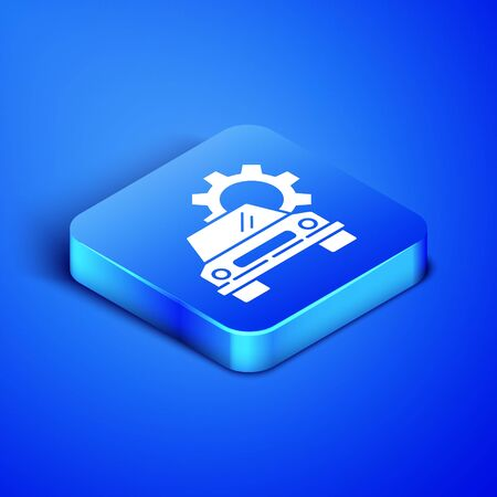 Isometric Car service icon isolated on blue background. Auto mechanic service. Repair service auto mechanic. Maintenance sign. Blue square button. Vector Illustration