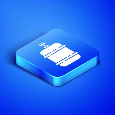 Isometric Propane gas tank icon isolated on blue background. Flammable gas tank icon. Blue square button. Vector Illustration Vectores