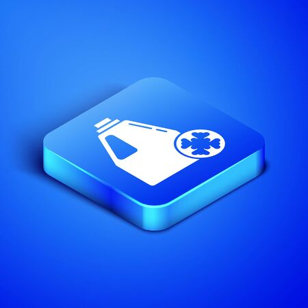 Isometric Antifreeze canister icon isolated on blue background. Auto service. Car repair. Blue square button. Vector Illustration Illustration