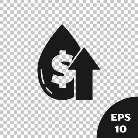 Black Oil price increase icon isolated on transparent background. Oil industry crisis concept. Vector Illustration