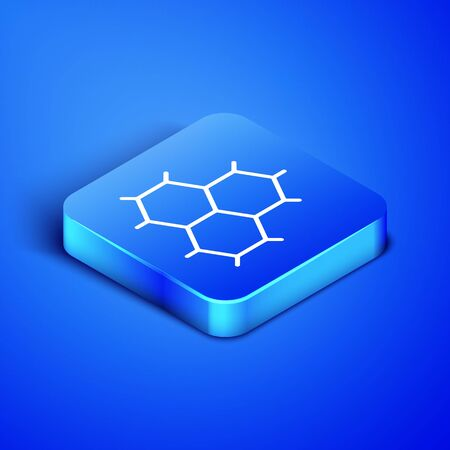 Isometric Chemical formula consisting of benzene rings icon isolated on blue background. Blue square button. Vector Illustration