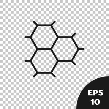 Black Chemical formula consisting of benzene rings icon isolated on transparent background.  Vector Illustration