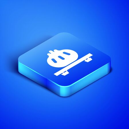 Isometric Dumpling on cutting board icon isolated on blue background. Traditional chinese dish. Blue square button. Vector Illustration