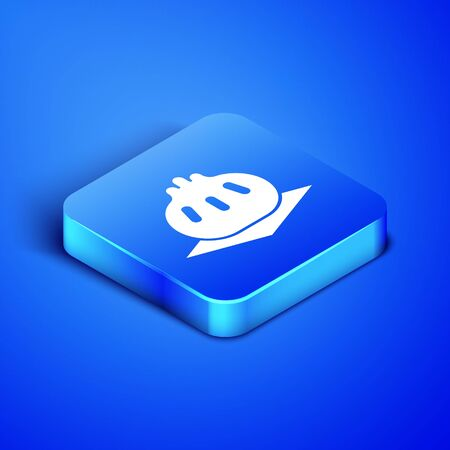Isometric Khinkali on cutting board icon isolated on blue background. Traditional georgian dumpling. Blue square button. Vector Illustration