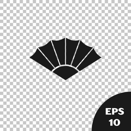 Black Traditional paper chinese or japanese folding fan icon isolated on transparent background. Vector Illustration Stock Illustratie