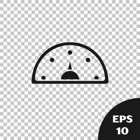 Black Speedometer icon isolated on transparent background.  Vector Illustration