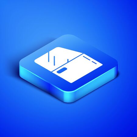 Isometric Car door icon isolated on blue background. Blue square button. Vector Illustration