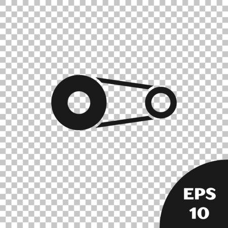 Black Timing belt kit icon isolated on transparent background. Vector Illustration Illustration