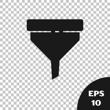 Black Funnel or filter icon isolated on transparent background. Vector Illustration  イラスト・ベクター素材