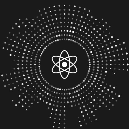 White Atom icon isolated on grey background. Symbol of science, education, nuclear physics, scientific research. Abstract circle random dots. Vector Illustration