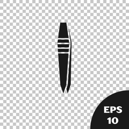 Black Tweezers icon isolated on transparent background. Vector Illustration