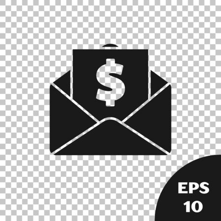 Black Envelope with coin dollar symbol icon isolated on transparent background. Salary increase, money payroll, compensation income. Vector Illustration Ilustracja