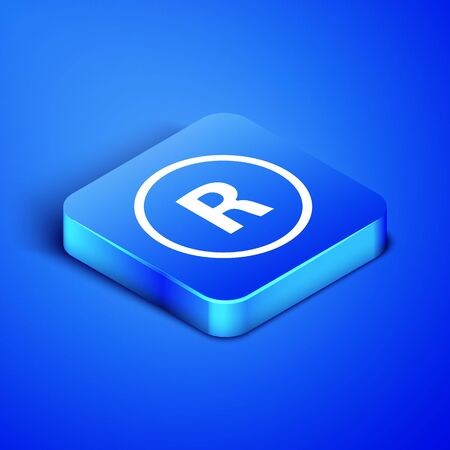 Isometric Registered Trademark icon isolated on blue background. Blue square button. Vector Illustration Vector Illustration