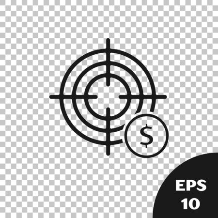 Black Target with dollar symbol icon isolated on transparent background. Investment target icon. Successful business concept. Cash or Money. Vector Illustration