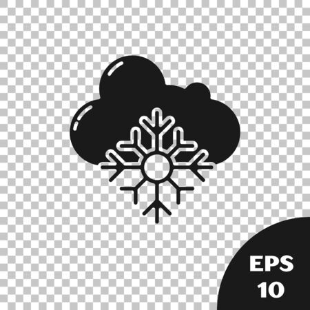 Black Cloud with snow icon isolated on transparent background. Cloud with snowflakes. Single weather icon. Snowing sign. Vector Illustration