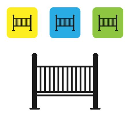 Black Baby crib cradle bed icon isolated on white background. Set icons colorful square buttons. Vector Illustration